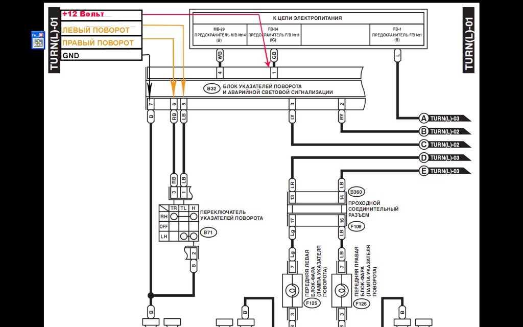 Схема подключения. Subaru